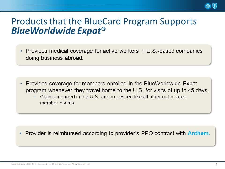 Products that the BlueCard Program Supports BlueWorldwide Expat®