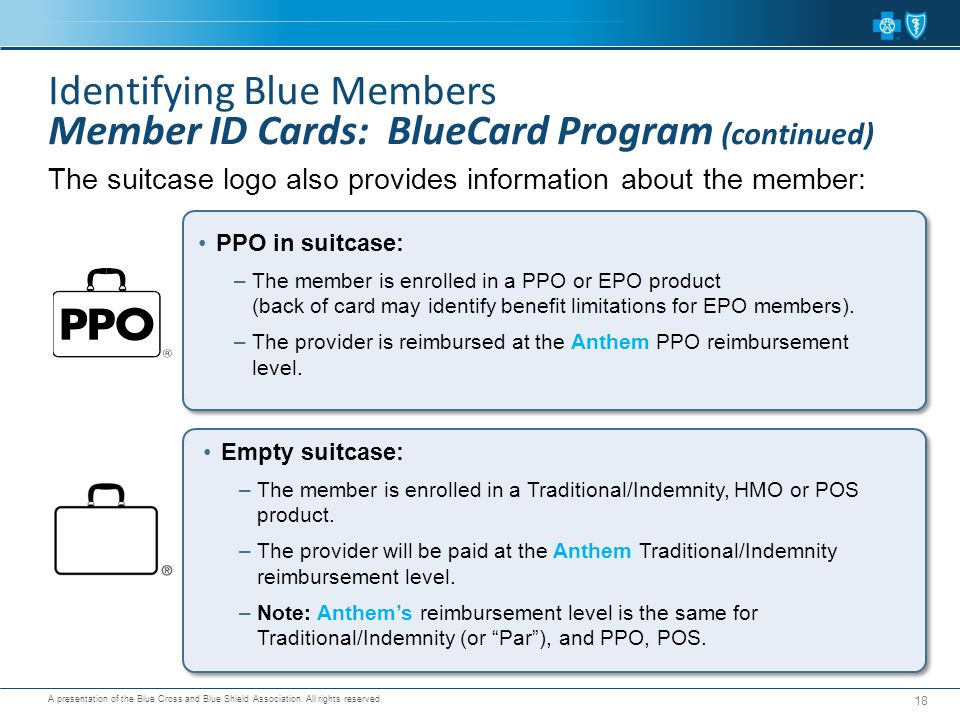 Identifying Blue Members Member ID Cards: BlueCard Program (continued)