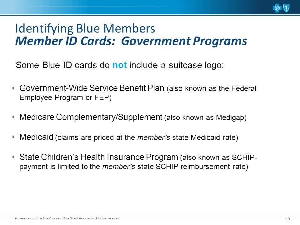 Identifying Blue Members Member ID Cards: Government Programs