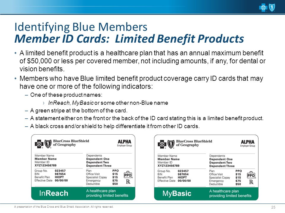 Identifying Blue Members Member ID Cards: Limited Benefit Products