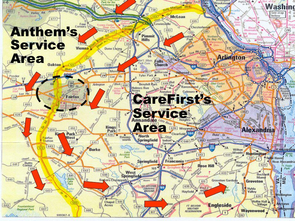 Anthem's Service Area CareFirst's Service Area