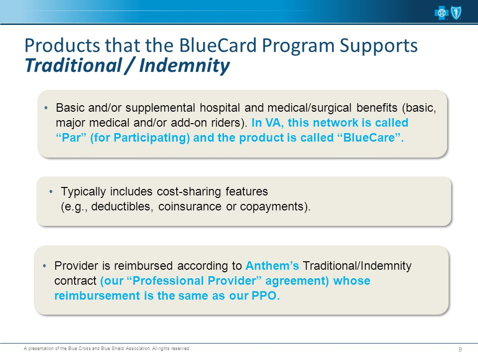 Products that the BlueCard Program Supports Traditional / Indemnity