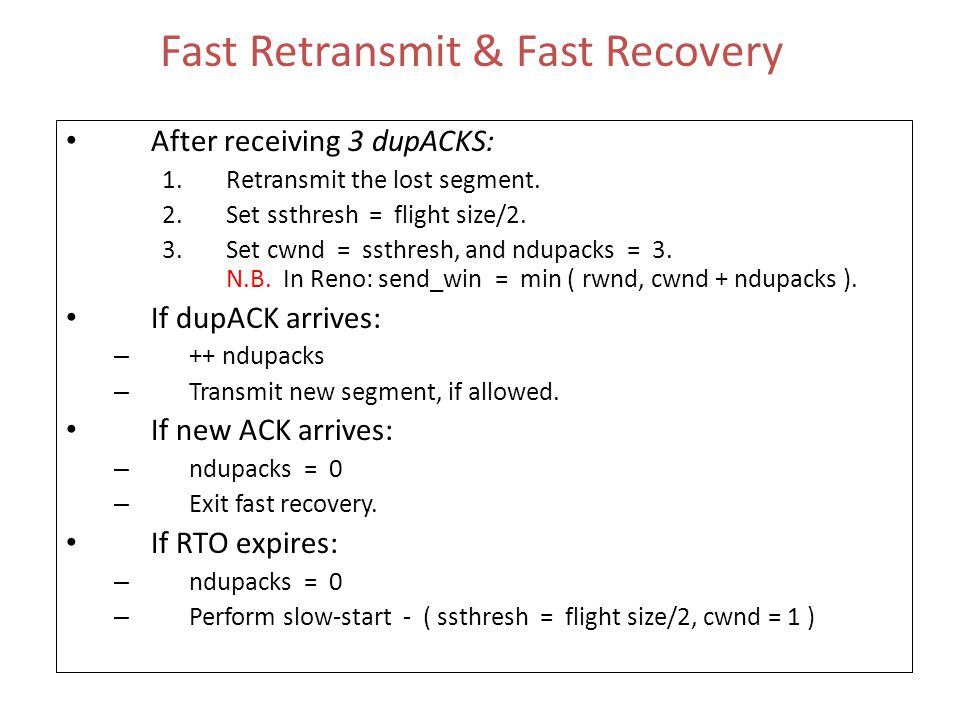 Fast Retransmit & Fast Recovery