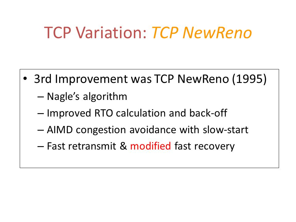 TCP Variation: TCP NewReno