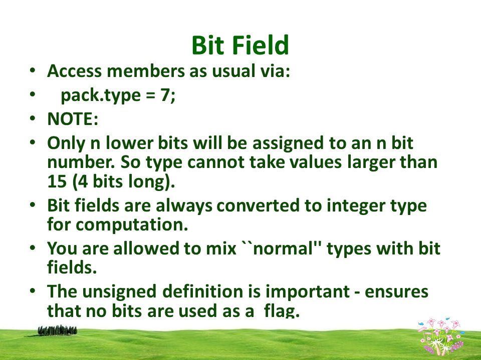 Bit Field Access members as usual via: pack.type = 7; NOTE: