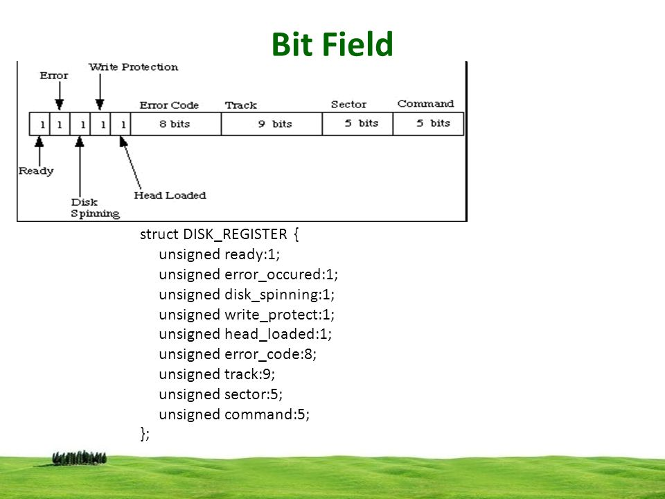 Bit Field struct DISK_REGISTER { unsigned ready:1;