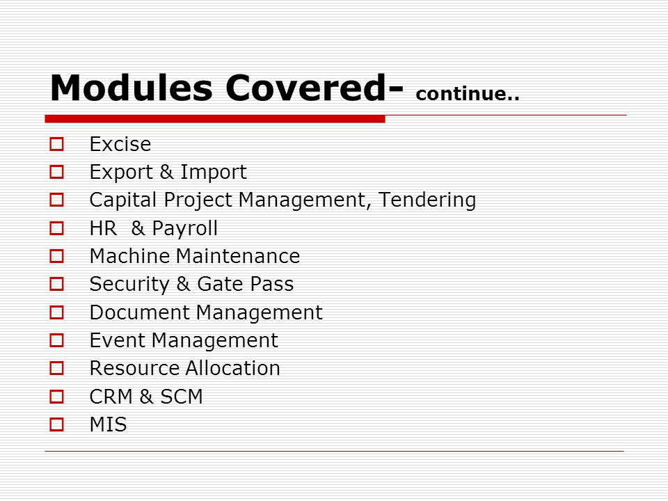 Modules Covered- continue..