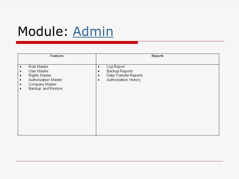 Module: Admin Role Master User Master Rights Master