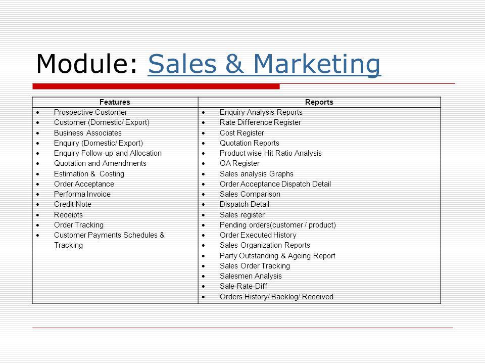 Module: Sales & Marketing
