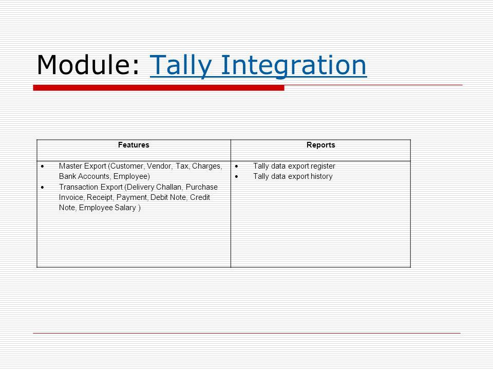 Module: Tally Integration