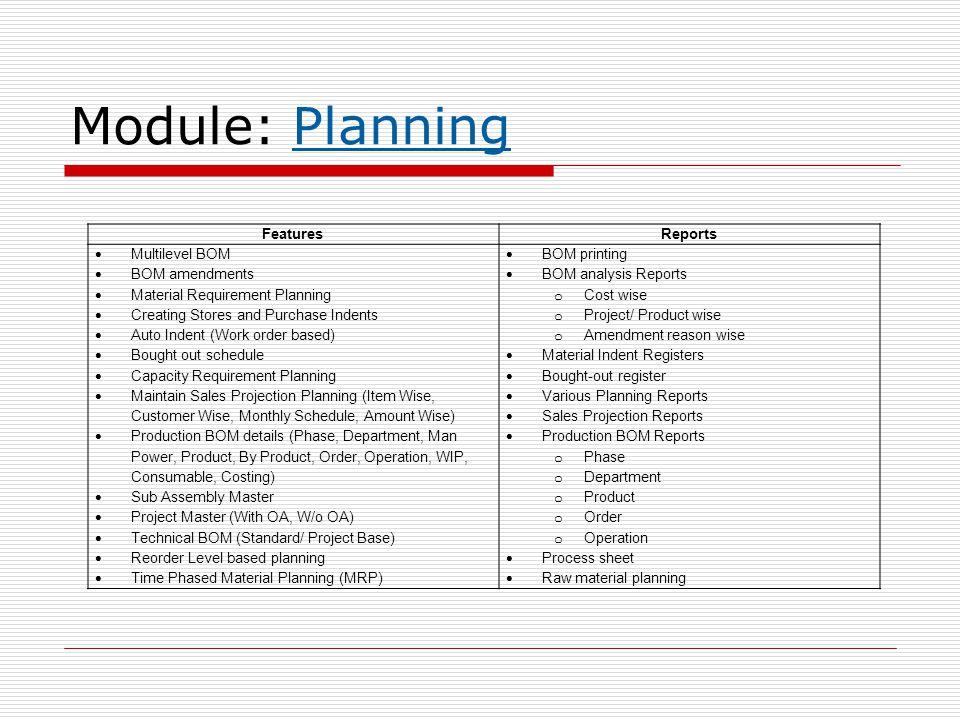 Module: Planning Features Reports Multilevel BOM BOM amendments