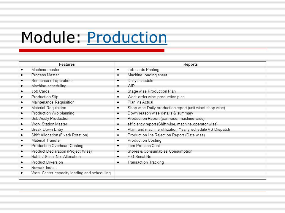 Module: Production Features Reports Machine master Process Master