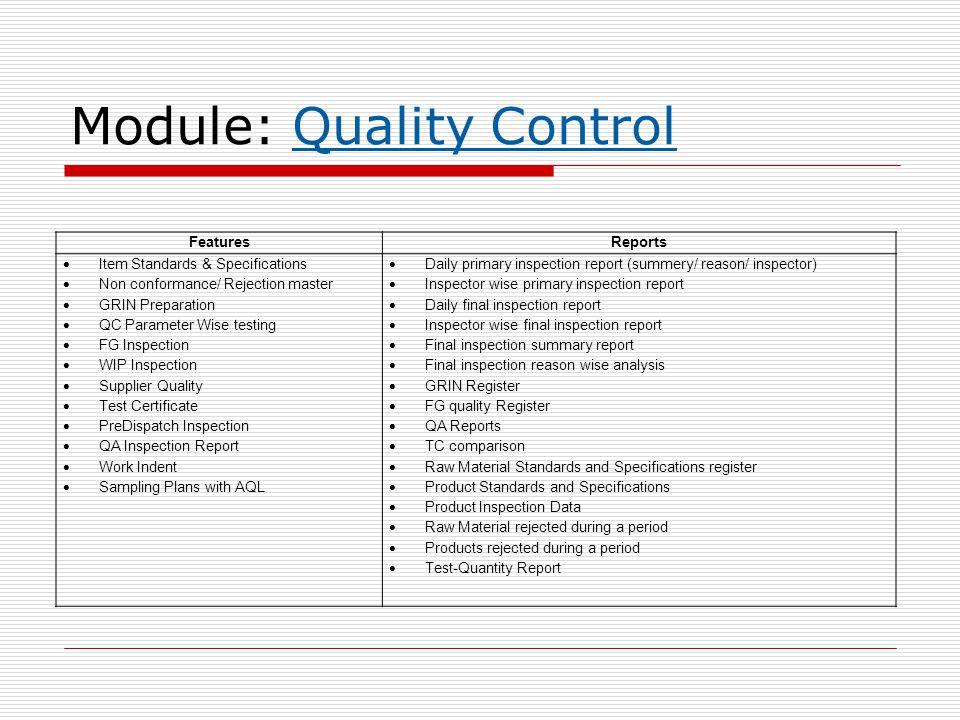 Module: Quality Control