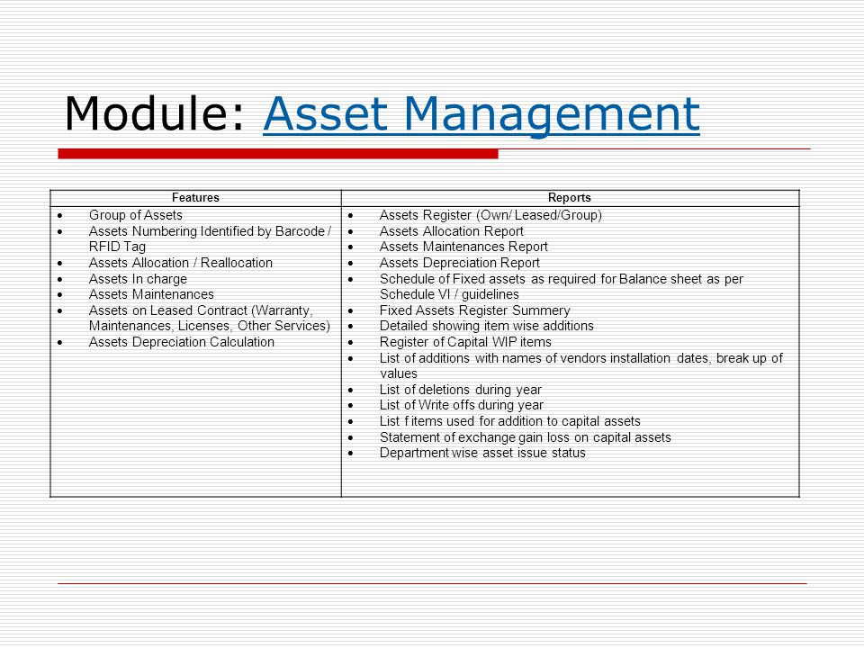Module: Asset Management