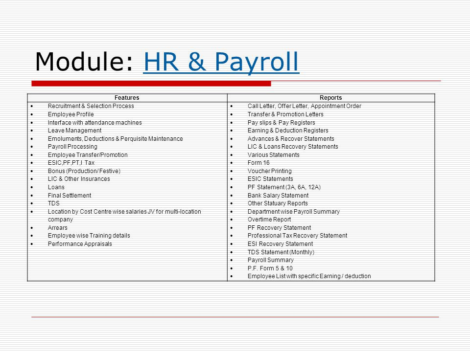 Module: HR & Payroll Features Reports Recruitment & Selection Process