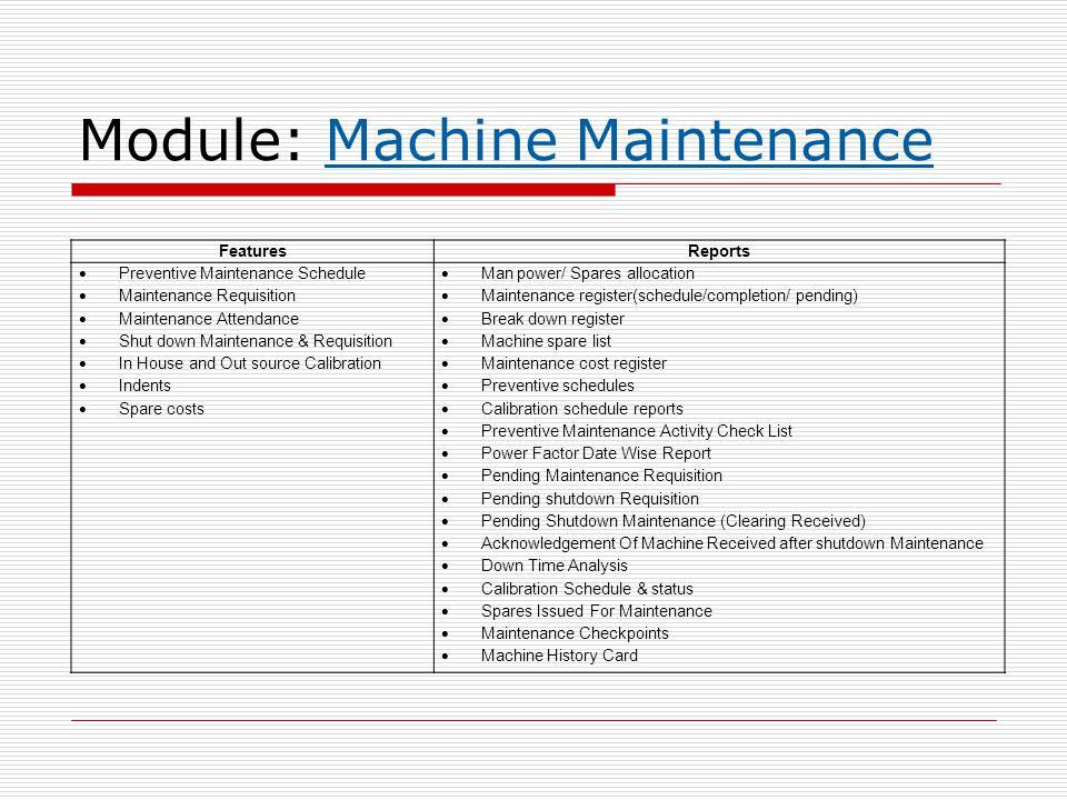 Module: Machine Maintenance