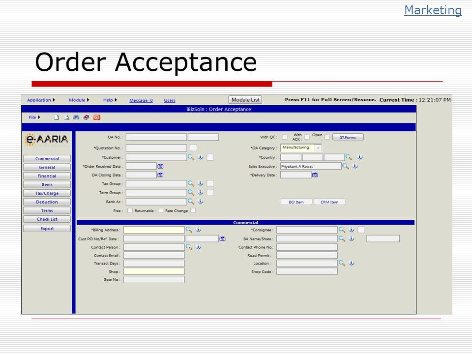 Marketing Order Acceptance