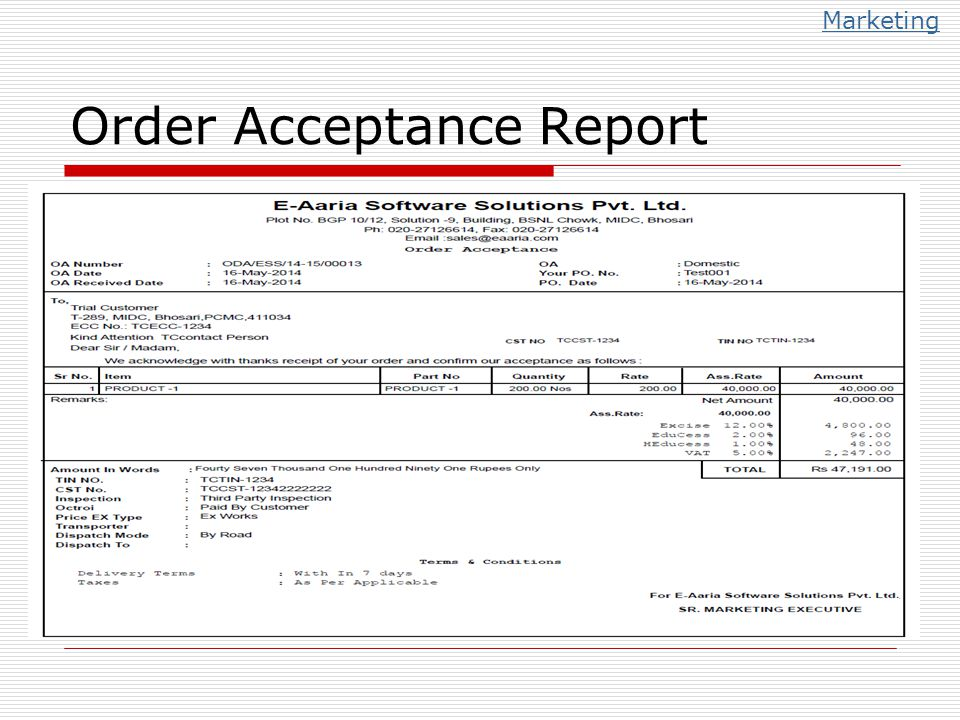 Order Acceptance Report