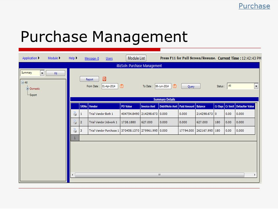 Purchase Purchase Management
