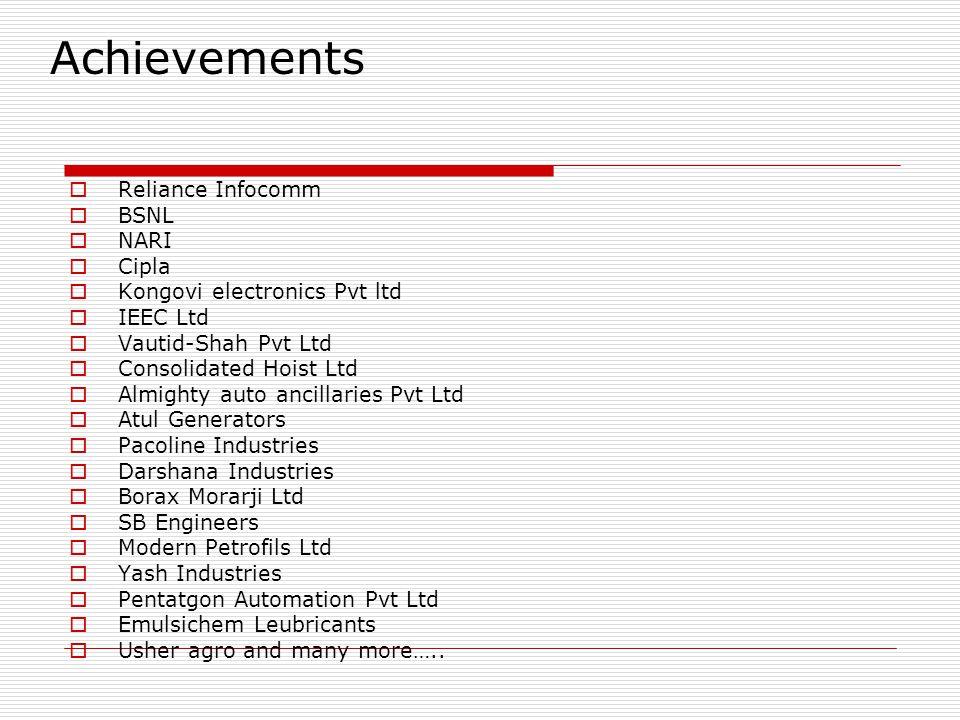 Achievements Reliance Infocomm BSNL NARI Cipla