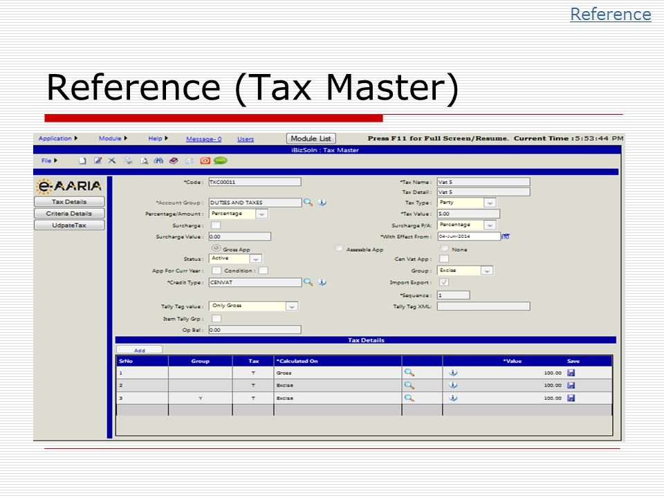 Reference (Tax Master)