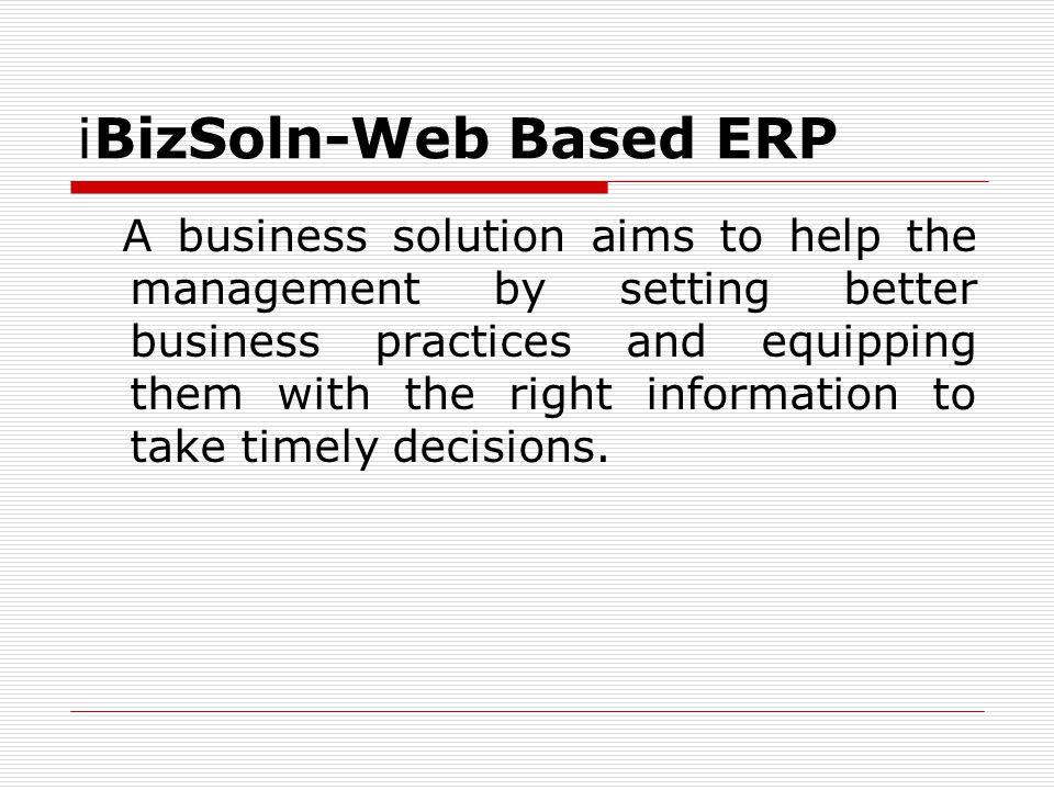 iBizSoln-Web Based ERP