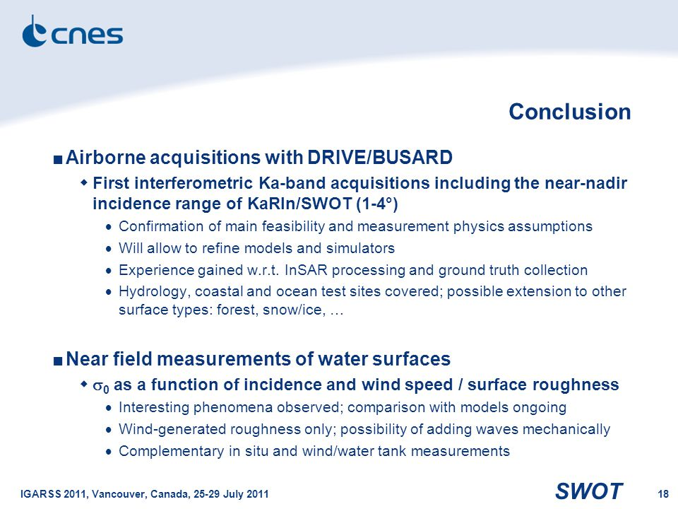 Conclusion Airborne acquisitions with DRIVE/BUSARD