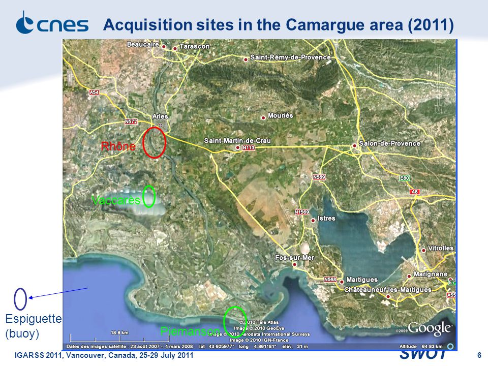 Acquisition sites in the Camargue area (2011)