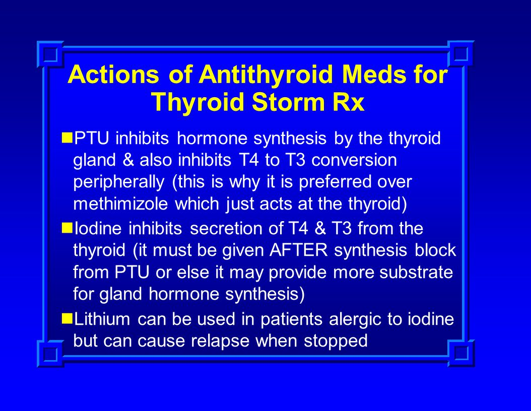 Actions of Antithyroid Meds for Thyroid Storm Rx