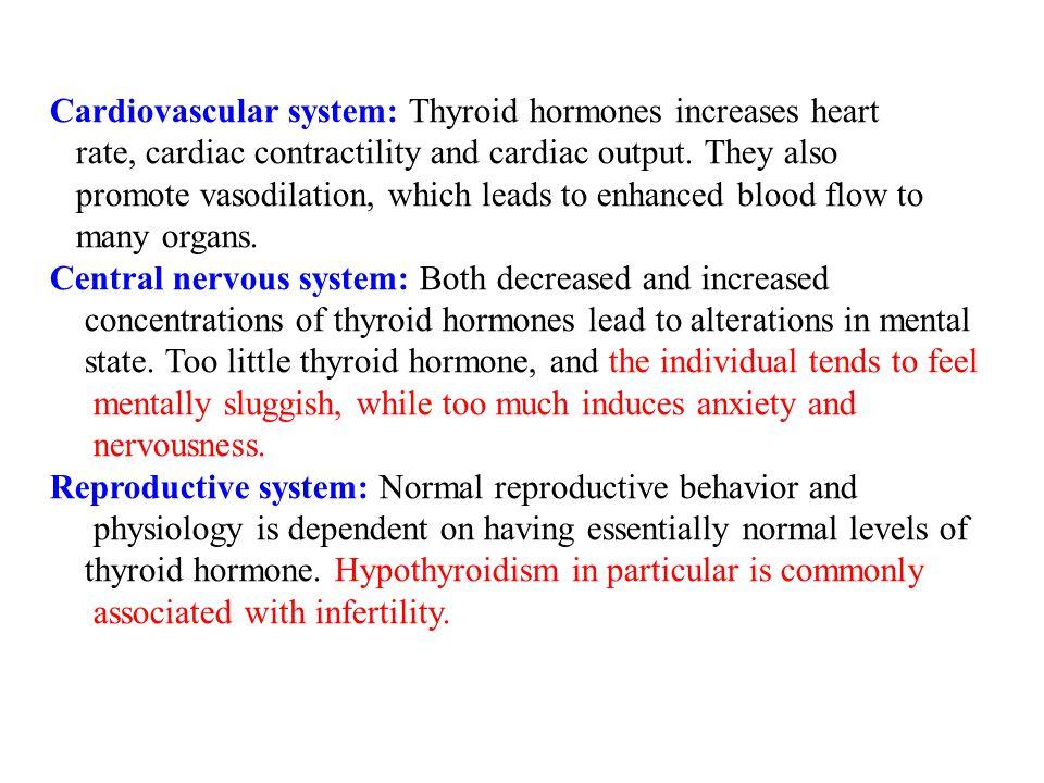 Cardiovascular system: Thyroid hormones increases heart