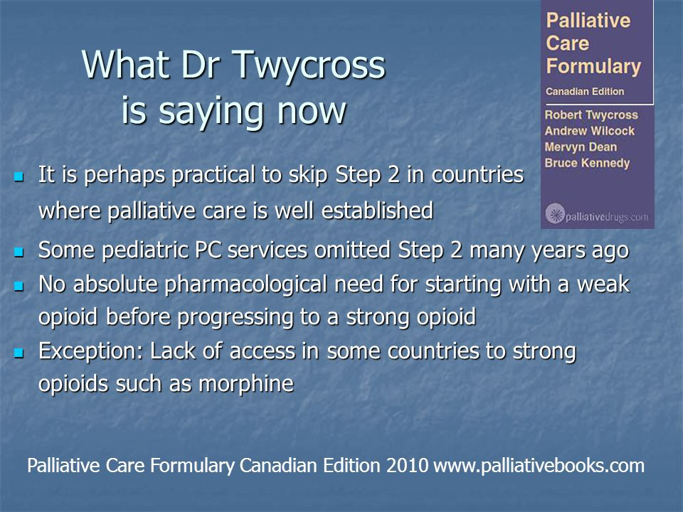 What Dr Twycross is saying now