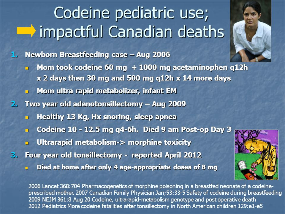 Codeine pediatric use; impactful Canadian deaths