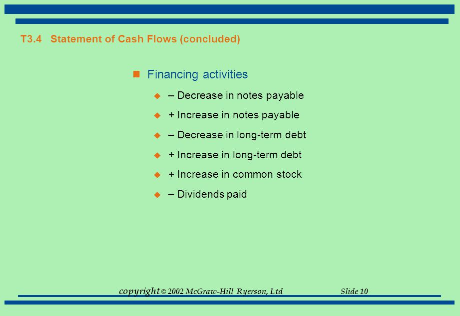 T3.4 Statement of Cash Flows (concluded)