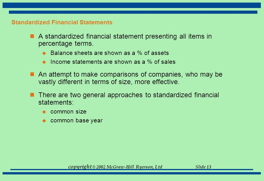Standardized Financial Statements