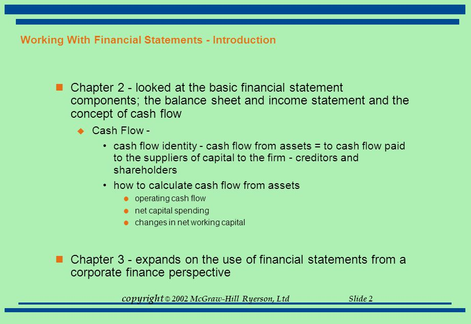 Working With Financial Statements - Introduction