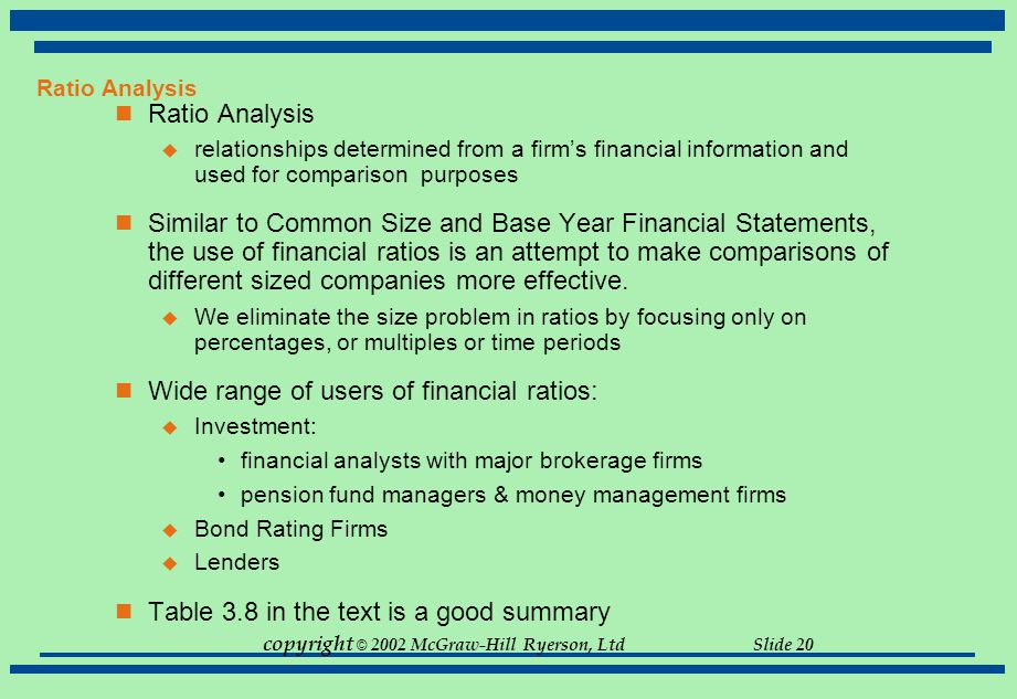 Wide range of users of financial ratios: