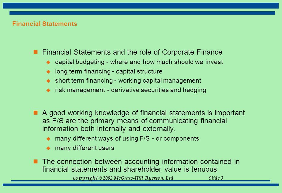 Financial Statements and the role of Corporate Finance