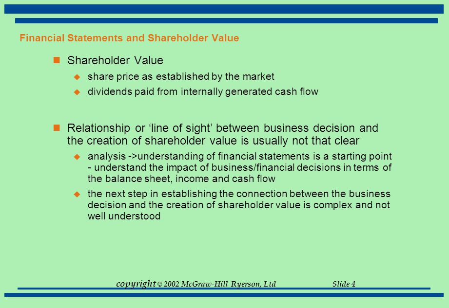 Financial Statements and Shareholder Value