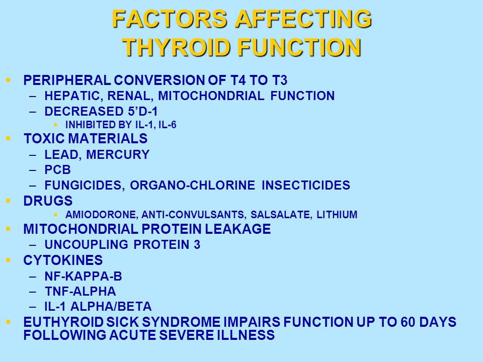 FACTORS AFFECTING THYROID FUNCTION