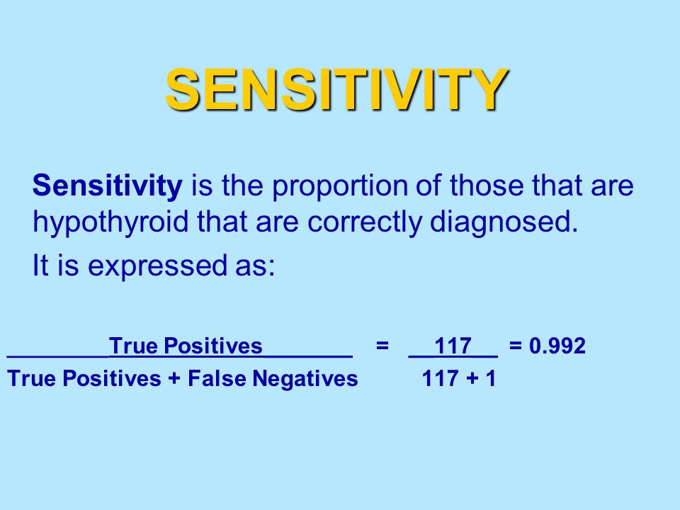 SENSITIVITY Sensitivity is the proportion of those that are hypothyroid that are correctly diagnosed.