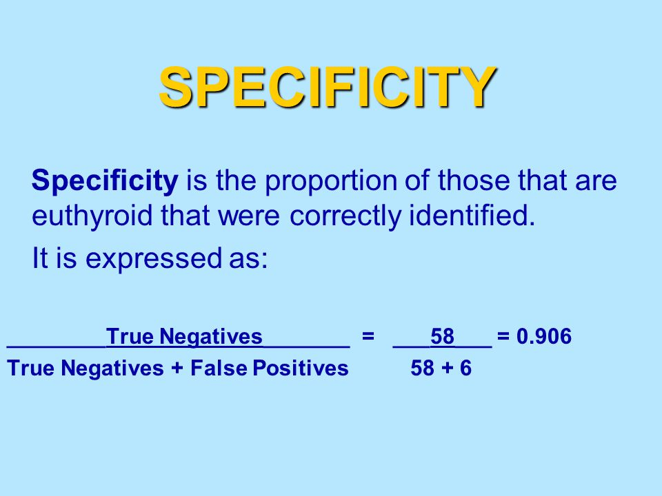 SPECIFICITY Specificity is the proportion of those that are euthyroid that were correctly identified.