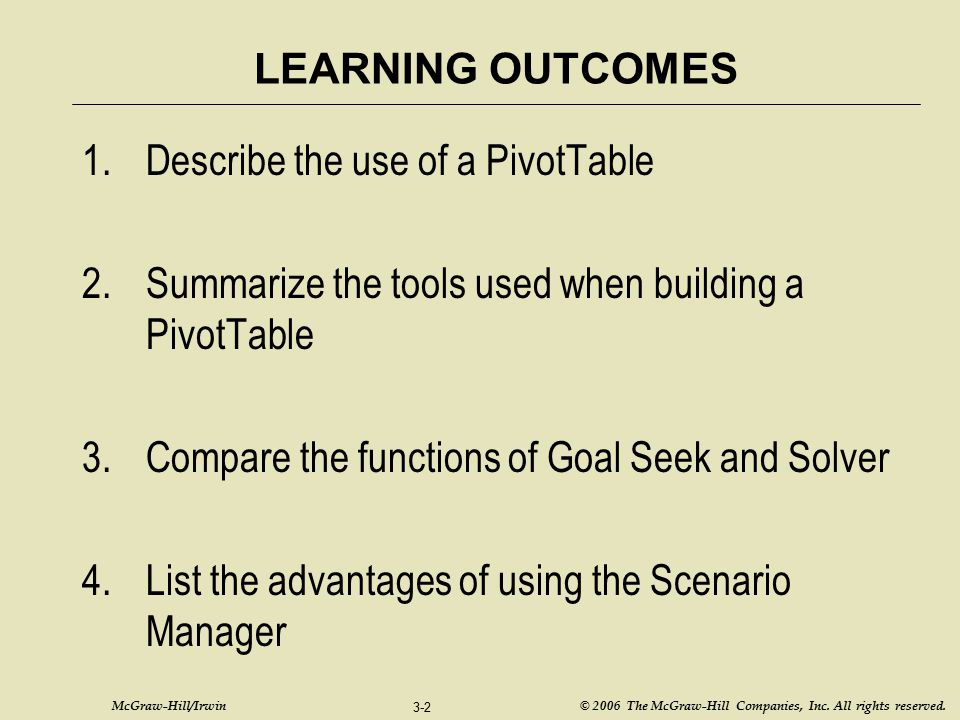 Describe the use of a PivotTable