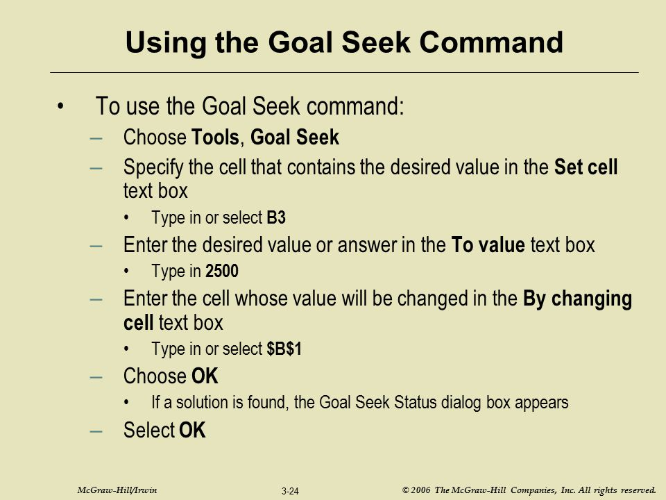 Using the Goal Seek Command