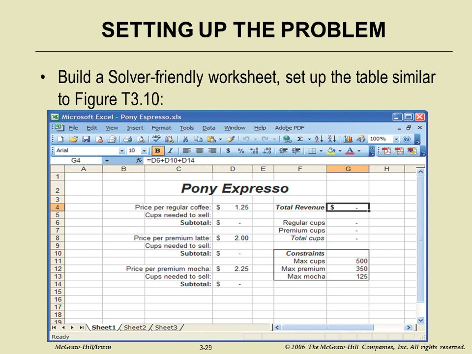SETTING UP THE PROBLEM Build a Solver-friendly worksheet, set up the table similar to Figure T3.10: