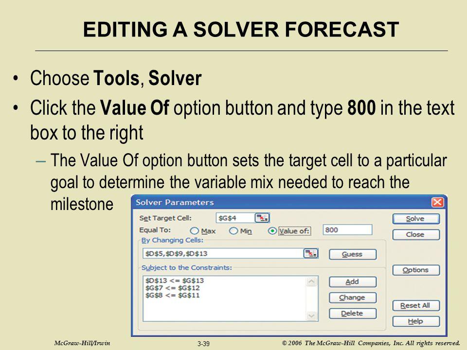 EDITING A SOLVER FORECAST