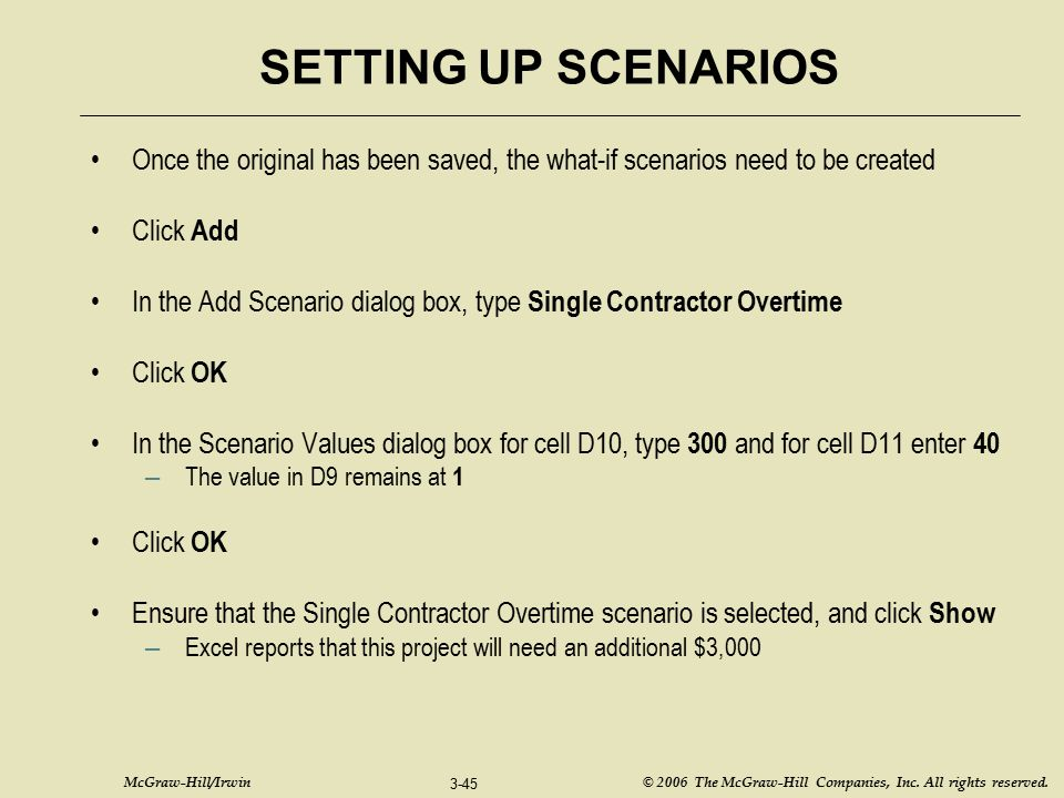 SETTING UP SCENARIOS Once the original has been saved, the what-if scenarios need to be created. Click Add.