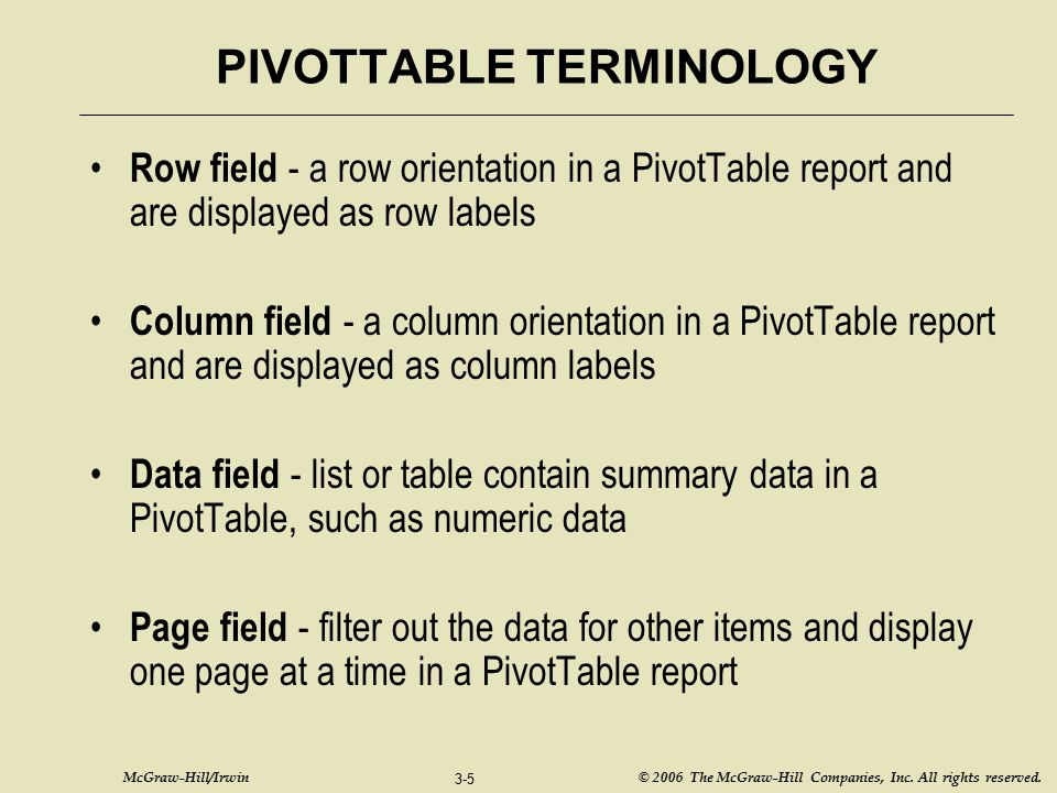 PIVOTTABLE TERMINOLOGY