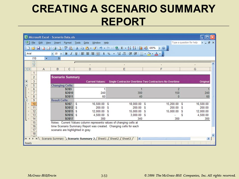 CREATING A SCENARIO SUMMARY REPORT