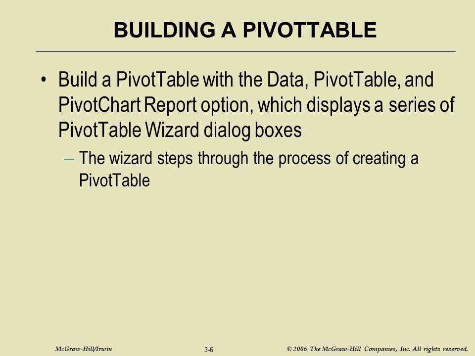 BUILDING A PIVOTTABLE