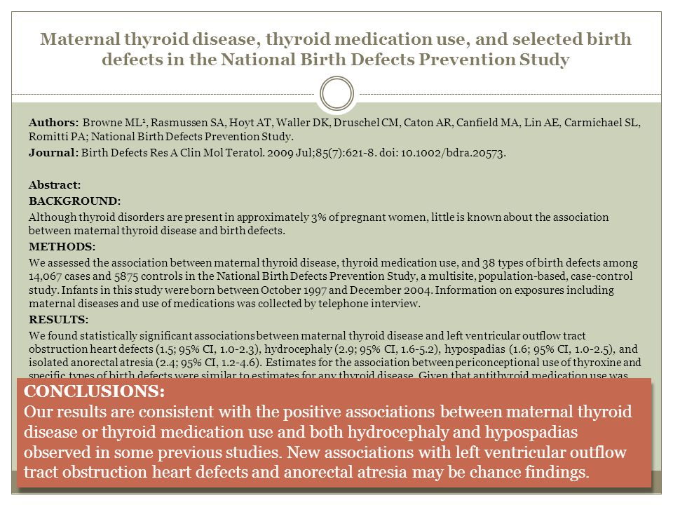 Maternal thyroid disease, thyroid medication use, and selected birth defects in the National Birth Defects Prevention Study